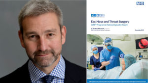 Clinical lead Andy Marshall with the ENT national report cover
