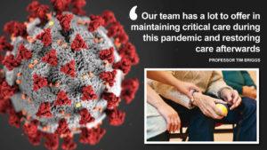 Coronavirus image with carer holding hand of elderly person